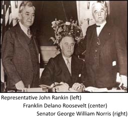Franklin Delano Roosevelt (Center) signs the Rural Electrification Act with Representative John Rankin (left) and Senator George William Norris (right)